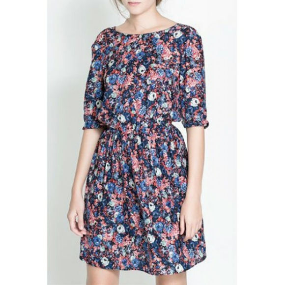 ZARA floral print Parisian boho dress